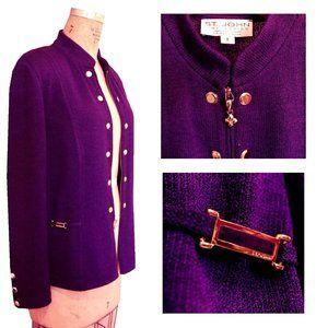 VTG Purple ST.JOHN Knit Cardigan Gold Stud Jacket
